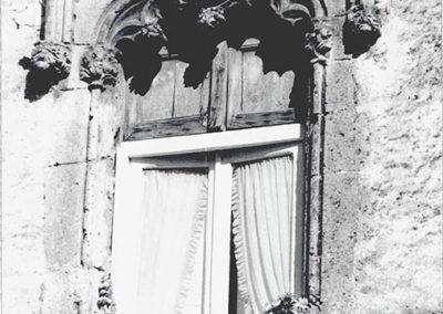 FINESTRA LATO GIARDINO - verso il monumento. Si distingue dalle altre per avere al di sotto dell'incorniciatura una decorazione a grappoli molto curata ed elaborata, inserita in un arco appena accennato.